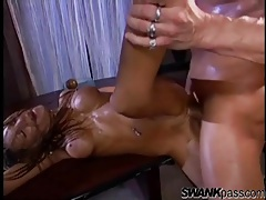 Fit slut with round fake tits fucked by fat cock tubes