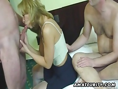 Amateur homemade threesome with cumshot tubes
