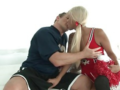 Gorgeous transsexual cheerleader sucks thick cock tubes