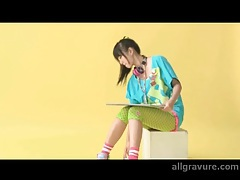 Colorful outfit on an adorable Japanese teen tubes