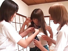 Three schoolgirls get naked and have fun tubes