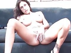 Slim chick with big fake tits sucks two dicks tubes