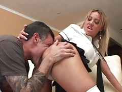Schoolgirl pulls out his cock to give a blowjob tubes