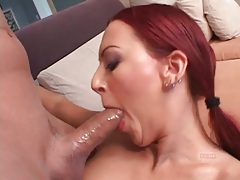 Skinny redhead sucks a dick for her asshole tubes