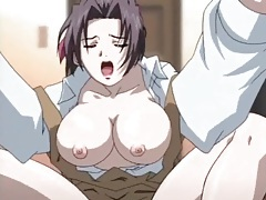 Hentai housewife moans as dildo fucks her tubes