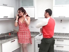 Tranny in a pretty dress sucks dick in kitchen tubes