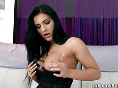 Hot brunette babe goes crazy rubbing her wet pussy tubes