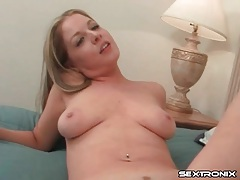 Supple thighs spread as he plays with her vagina tubes