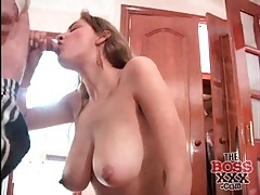 Glam girl with big natural tits sucks a dick tubes
