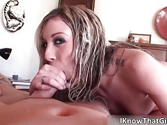 Hot brunette babe blows stiff rod and gets pounded hard up her tight wet cunt tubes