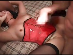 Red satin corset on slut banging in threesome tubes