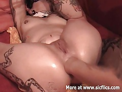 Extreme double anal and vaginal fisting slut tubes