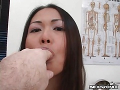 Asian in doctor office bares little tits tubes