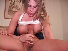 She deepthroats and takes cum on her tits tubes