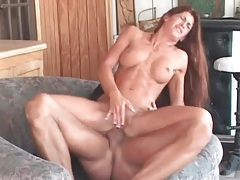 Fit girl with fake tits sits on cock with asshole tubes