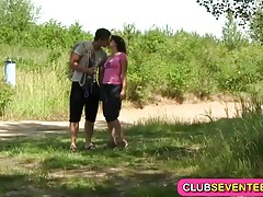 Shaved teen pussy fucked outdoors tubes