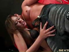 She gags when deepthroating a thick cock tubes