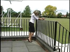 Posh blonde has fetish for shiny nylons and high heels tubes