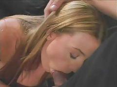 Brown eyed cocksucker balled in her sexy pussy tubes