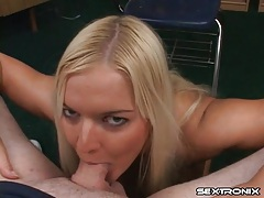 Blonde cocksucker gives a tasty titjob too tubes