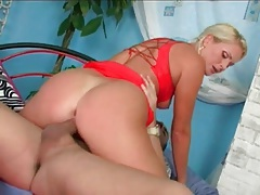 Blonde dressed in red fucked in her cunt tubes