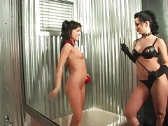 Mistress prepares girl pussy with her tongue tubes
