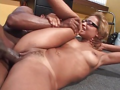 Cute glasses on Latina doing big cock sex tubes