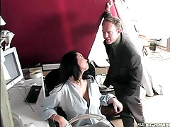 Fondling and stripping mom in the office tubes