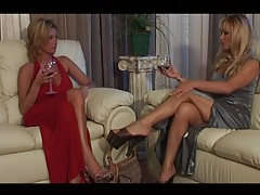 Elegant blonde moms in evening gowns hook up tubes