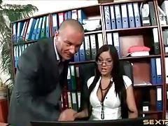 Slut sucks on the big cock of her boss tubes