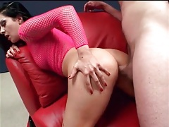 Fucked in the butt while in fishnet top tubes