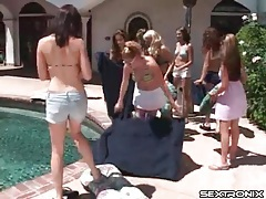 Lesbian bikini party with lots of pussy eating tubes