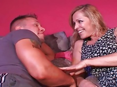 Busty milf seduces the muscular young guy tubes