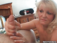 Mature blonde sucks his balls aggressively tubes