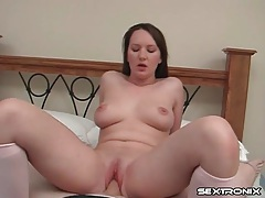 Shaved young lady sits on his cock in pov tubes