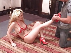 Curly hair blonde with a stunning body sucks cock tubes