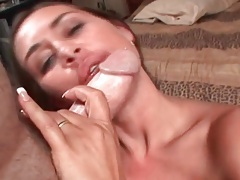 He cums on her big tits after a blowjob tubes