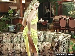 Ass fingering and masturbating blonde in heels tubes
