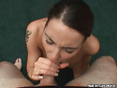 Drops of cum hit her face in a pov video tubes