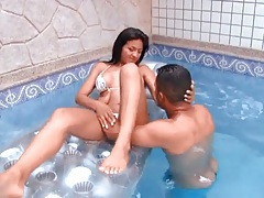 Bikini babe with big boobs licked in hot tub tubes