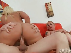 Teen blonde looks on as fat ass mom gets fucked tubes