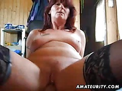 Naughty amateur milf sucks and fucks with creampie tubes