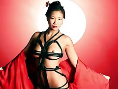 Japanese model strips from her kimono tubes