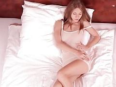 Skinny girl in sheer lingerie fondles her tits tubes