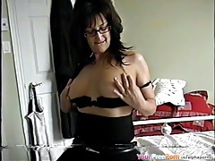 Nerdy milf talks dirty and fucks for a facial tubes