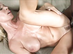Mom with fake tits filled by big black cock tubes