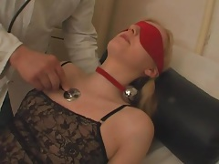 Gagged and blindfolded girl fucked by doctor tubes