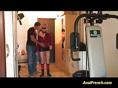 French babe takes anal cocks tubes