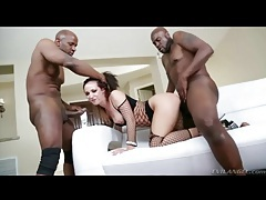 Fishnets on slut black guys double team tubes