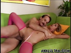 Pink stockings and leash for her double penetration tubes